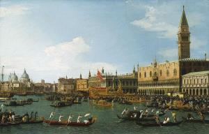 Canaletto - Museo Thyssen-Bornemisza 77 (1962.1). Title: Il Bucintoro. Date: c. 1745-1750. Materials: oil on canvas. Dimensions: 57 x 93 cm. Acquisition date: 1962. Nr.:77 (1962.1). Colección Thyssen-Bornemisza, en depósito en el Museu Nacional d'Art de Catalunya (MNAC). Source: http://arthistoryreference.com/la/6046.jpg